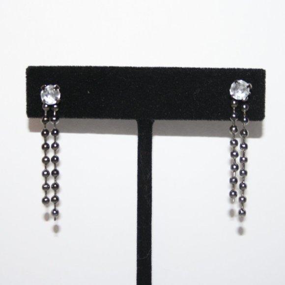 Gun metal black and cz drop post earrings nwot